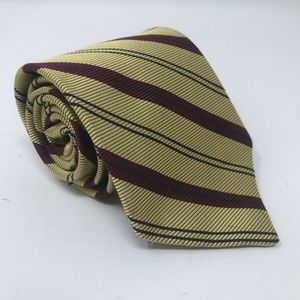 Brooks Brothers Makers Necktie Gold Striped Silk